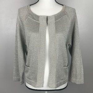 Talbots Silver Gray Cardigan Sweater Linen Blend